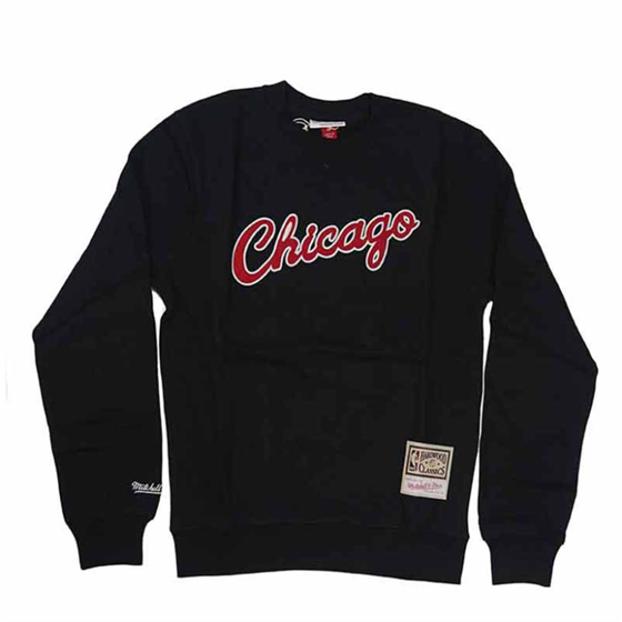 MITCHELL & NESS CHICAGO BULLS EMBROIDERED LOGO CREW