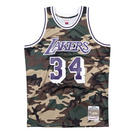 MITCHELL & NESS LOS ANGELES LAKERS SHAQUILLE ONEAL CAMO SWINGMAN JERSEY