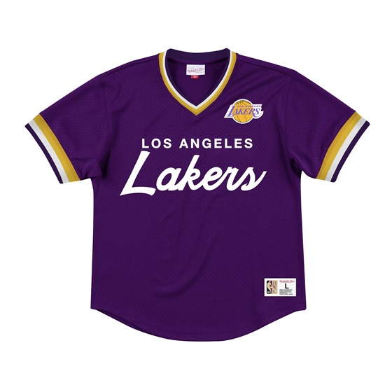 MITCHELL & NESS LOS ANGELES LAKERS SPECIAL SCRIPT MESH V-NECK TEE