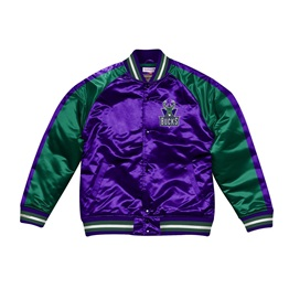 MITCHELL & NESS MILWAUKEE BUCKS COLOR BLOCKED SATIN JACKET