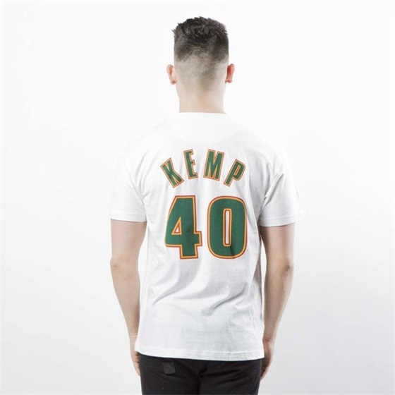 MITCHELL & NESS SEATTLE SUPERSONICS SHAWN KEMP NAME & NUMBER TRADITIONAL TEE
