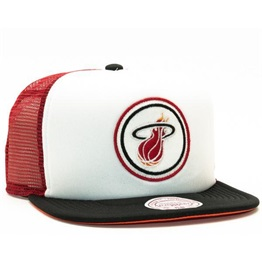 Mitchell & Ness Miami Heat Foam Front Trucker Snapback