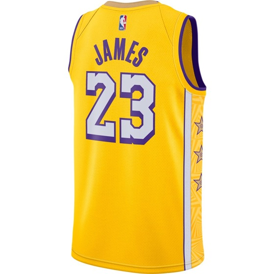 NBA X NIKE LOS ANGELES LAKERS LEBRON JAMES SWINGMAN CITY EDITION JERSEY 19